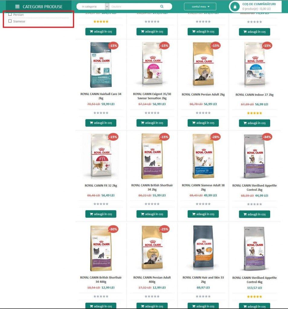 Criteriile de evaluare GPeC - audit de site - Pagina de Categorie - sticky filters